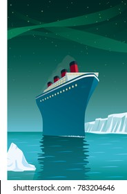 Vintage style vector illustration of giant cruise ship with icebergs on arctic ocean under northern lights