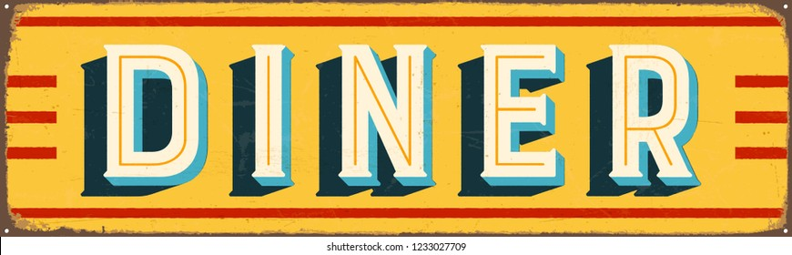 Vintage Style Vector Metal Sign - DINER - Grunge effects can be easily removed for a brand new, clean design