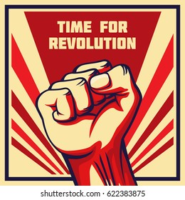 Vintage style vector revolution poster. Raised fist of the striking man, worker etc.