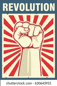 Vintage style vector revolution poster,fist hand