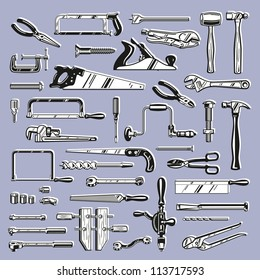 Vintage Style Vector Saw, Hammer, Wrench and other Hand Tools for Construction