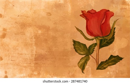 A vintage style watercolor drawing of a red rose on a golden textured artistic background with a place for text, scalable vector graphic