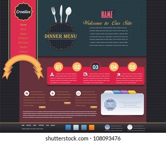 Vintage Style Website design vector elements