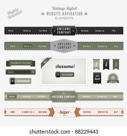 Vintage Style Website Navigation Elements
