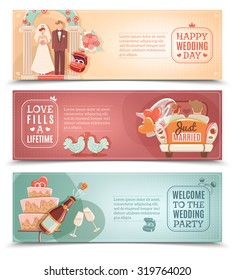 Vintage style wedding day party for just married couple flat horizontal banners set abstract isolated vector illustration