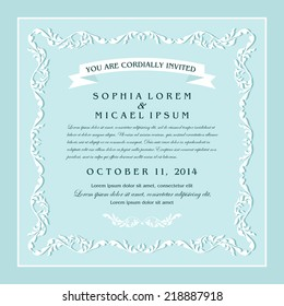 Vintage style wedding invitation card design, floral beautiful frame on blue background, page for your decoration and design