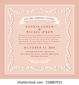 Vintage style wedding invitation card design, floral beautiful frame on rose background, page for your decoration and design