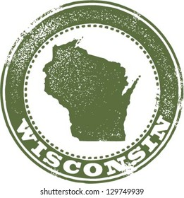 Vintage Style Wisconsin State Stamp
