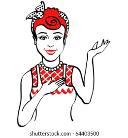 Vintage style woman or girl baker or cook dressed in an apron who is smiling and in a presentation pose.