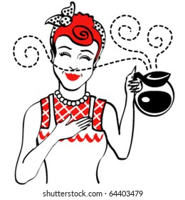 Vintage style woman or girl wearing an apron and holding a hot pot of coffee.