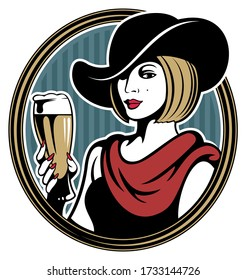 Vintage style woman portrait. Retro style woman in the hat, holding a beer glass.