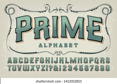 A vintage styled alphabet in sage green tones. This font has an old time quality that would work well on certificates, book covers, alcohol bottles, craft beer branding, etc.