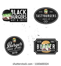 vintage styled burger themed logotypes with grunge effect and burger illustration as a main element of the logo. retro minimalistic design of burger house badges