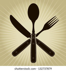 Vintage styled Crossed  knife, fork and spoon / Restaurant Seal