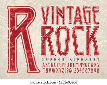 A vintage styled grunge alphabet. This font has a worn and retro flair reminiscent of 1970s vinyl album cover lettering for rock bands.