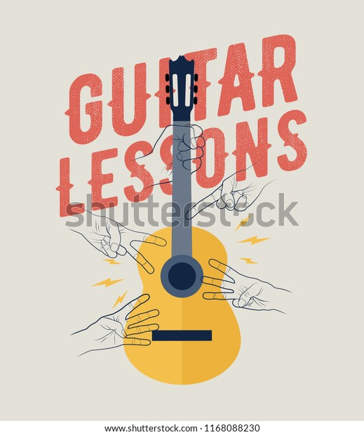 Vintage Styled Guitar Lessons Poster Flyer Banner Template. Perfecto for your guitar classes. Vector Illustration.