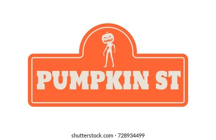 Vintage styled house nameplate. Zombie silhouette with pumpkins head. Pumpkin st text