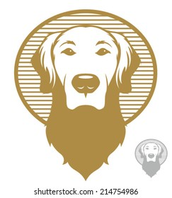 Vintage styled illustration of a golden retriever dog/Vector Dog Face Icon