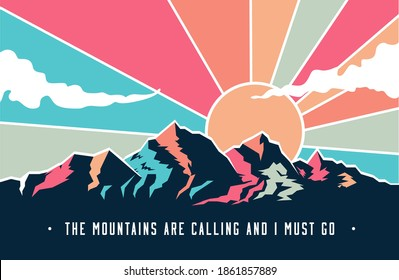 Vintage styled mountains landscape with mountains peaks and retro colored sky with clouds. Vector illustration