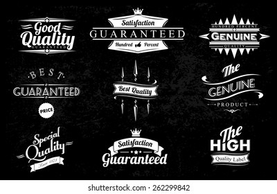 Vintage Styled Premium Quality And Satisfaction Guarantee Label Collection