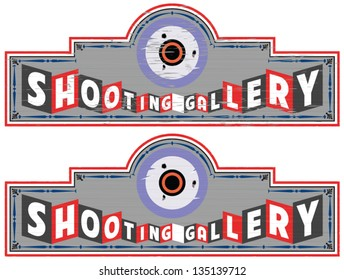 Vintage styled shooting gallery sign in two versions (wear and tear / clean)
