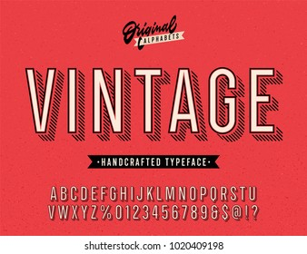 Vintage Stylish Alphabet with Striped Shadow. Original Old School Retro Typeface. Condensed Letters, Numbers and Symbols. Vector Illustration.