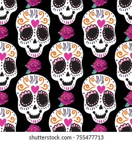 Vintage sugar skull and peony embroidery seamless pattern. Bright traditional illustration on black background for fabric design in watercolor style.