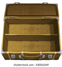 Vintage suitcase open. Vector illustration.
