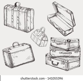 Vintage suitcases set. Old travel bags collection