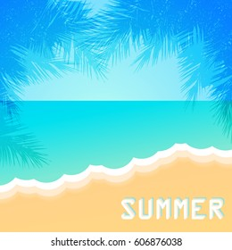 Vintage summer beach. Vector background.