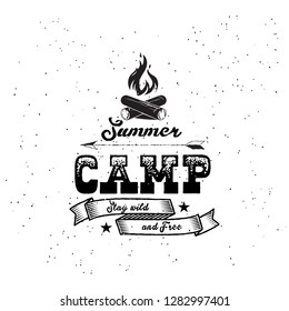 Vintage summer camp badges and other outdoor logo's and emblems with labels on white background.