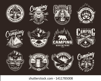 Vintage summer camping logos with bears flying eagle bonfire tent canoe paddle metal cup gas lantern crossed arrows flashlights marshmallow on sticks isolated vector illustration