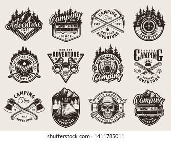 Vintage summer camping prints with angry bear head compass skull in safari hat travel truck tent mountains crossed pickaxes knives skewers axes binoculars isolated vector illustration