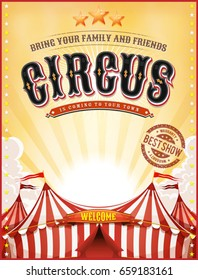 Vintage Summer Circus Poster With Big Top/ Illustration of a retro vintage circus background, with summer yellow sky, marquee, big top, titles and grunge texture