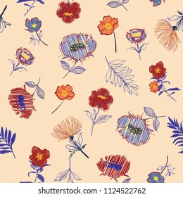 Vintage Summer fresh Seamless pattern Vector Embroidery trend floral with branch of tropical bloomong flowers.For fashion,fabirc and all prints on nude pink background