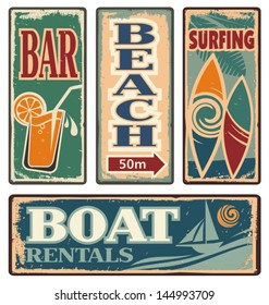 Vintage Summer Holiday Signs Vector Set Of Retro Beach Ads And Posters