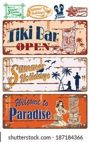 Vintage summer holidays signs