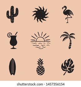 Vintage Summer Icon Illustrations - Set of 9 summer hand drawn icons in a timeless style. Each icon has a rough, vintage texture.