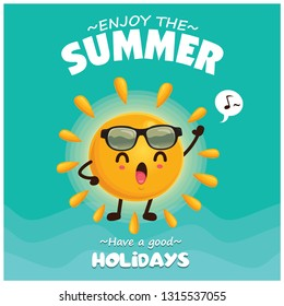 Vintage summer poster design with vector sun & sunglasses characters.