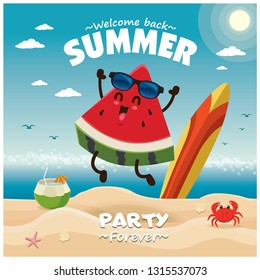 Vintage summer poster design with vector watermelon characters.
