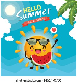 Vintage summer poster design with vector sun, watermelon & sunglasses characters.