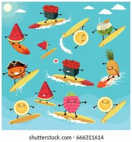 Vintage summer poster design with vector sushi, fruit  & food surfer.