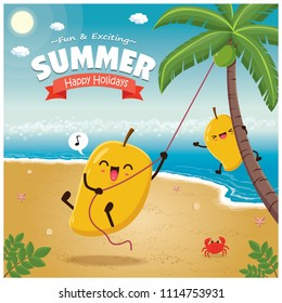 Vintage Summer poster with mango character, palm tree.
