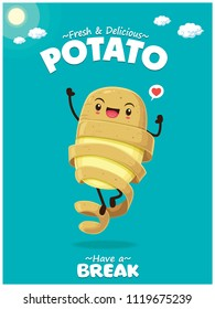 Vintage Summer poster with potato character.