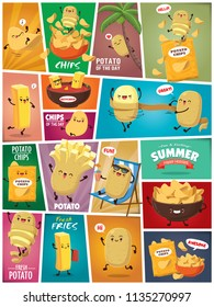 Vintage Summer poster with potato potato & chips character.