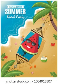 Vintage Summer poster with watermelon character, sleeping net, palm tree.