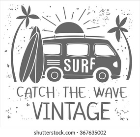 Vintage Summer Surf Print with a Mini Van, Palm Trees and Lettering. Vector Illustartion