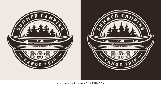 Vintage summer trip round emblem with canoe and forest in monochrome style isolated vector illustration