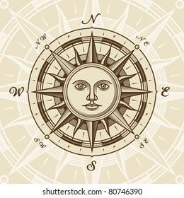 Vintage sun compass rose. Vector