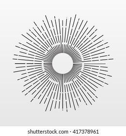 Vintage Sun rays isolated on background. Modern simple flat fireworks sign. Line burst concept. Trendy line vector starburst symbol for web site design. Logo illustration